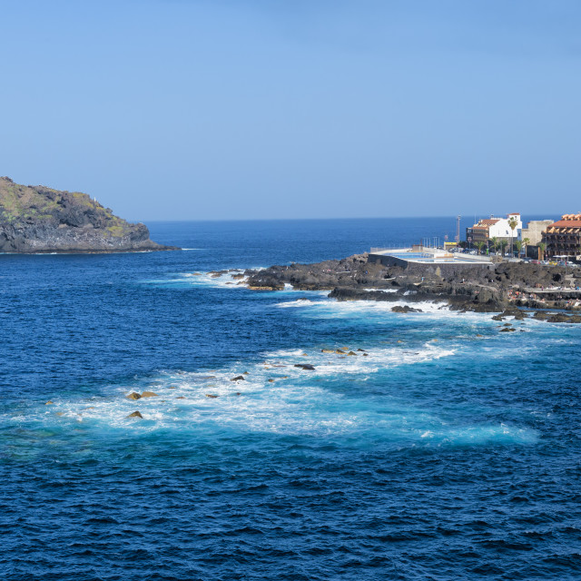 """Garachico village viewed from the Mirador del Emigrante, Tenerife, Spain"" stock image"