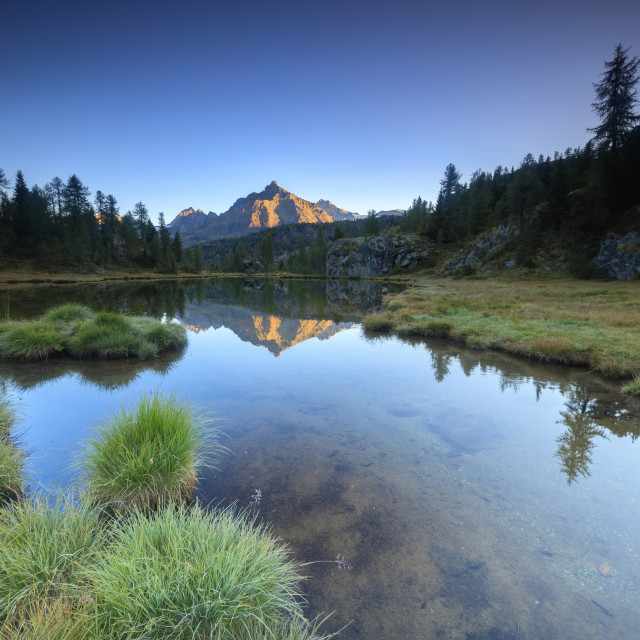 """Panorama of Sasso Moro reflected in Lake Mufulè at dawn Malenco Valley..."" stock image"