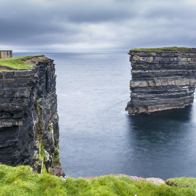 """Downpatrick Head, Ballycastle, Co. Mayo, Connacht province, Ireland."" stock image"