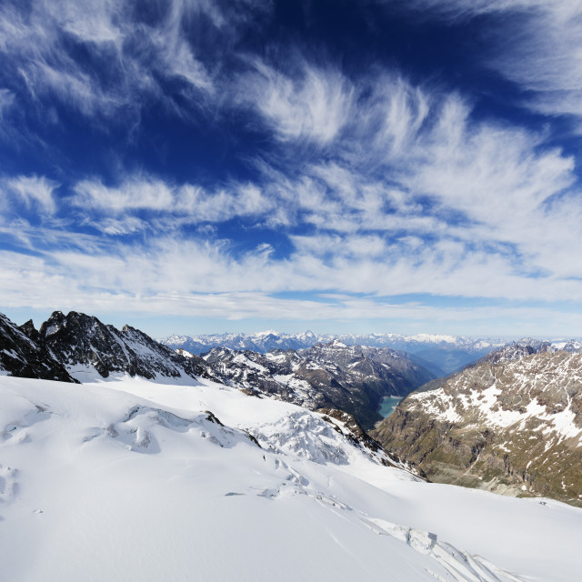 """Europe; Italy; Italian Alps; Aosta Valley; view from Dent d'Herens"" stock image"