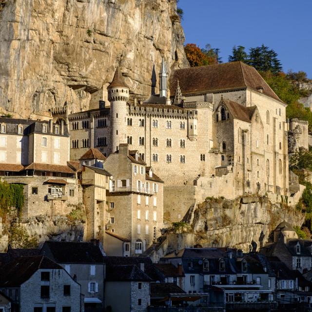 """""""Stop on Saint-Jacques-de-Compostelle pilgrimage, Rocamadour, Lot, Quercy, France"""" stock image"""