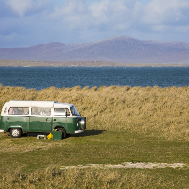"""The machair and volkswagen camper van, Isle of Berneray, North Uist, Outer..."" stock image"