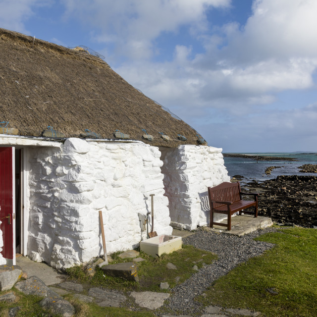 """Thatched cottage and hostel, Isle of Berneray, North Uist, OuterHerbidies,..."" stock image"