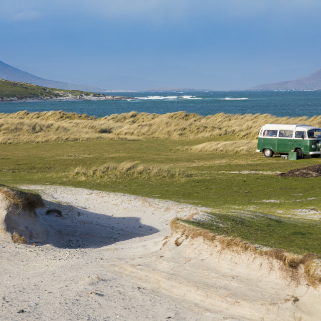 """White sands with Volkswagen camper van, Isle of Berneray, North Uist, Outer..."" stock image"