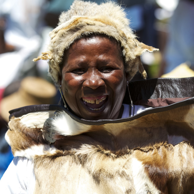 """""""A lady dances and celebrates traditional costume in Lesotho."""" stock image"""