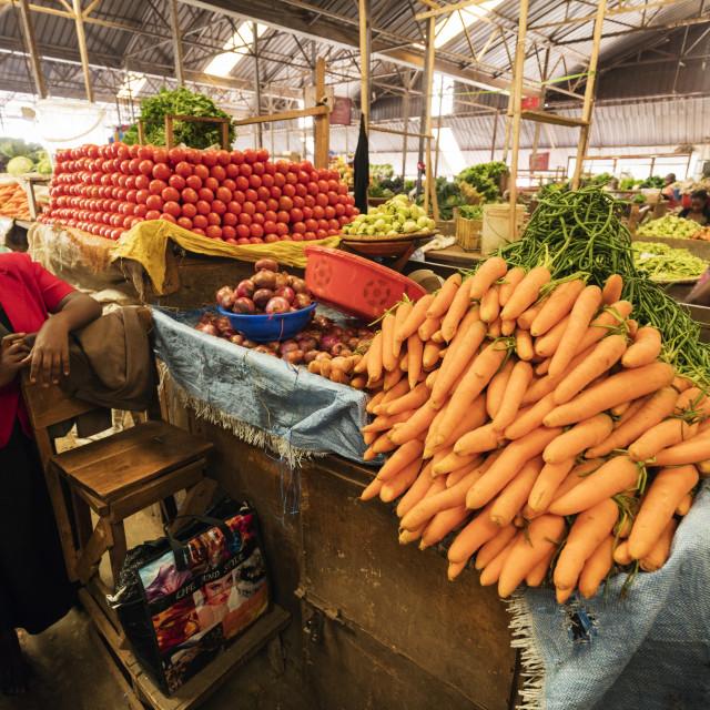 """""""Africa, Rwanda, Kigali, fresh produce market"""" stock image"""