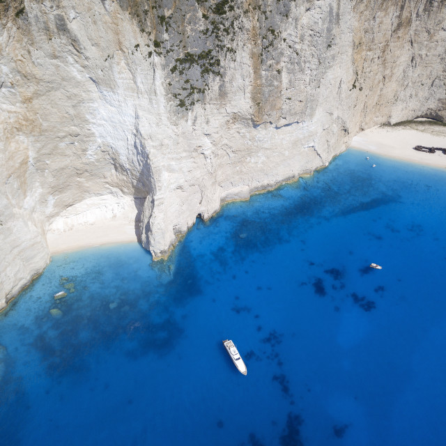 """aerial view of Navagio Beach and shipwreck at Smugglers Cove on the coast of..."" stock image"