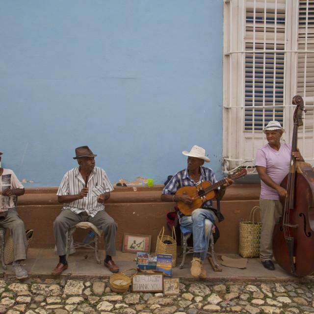 """Street Musicians, Trinidad, UNESCO World Heritage Site, Sancti Spiritus, Cuba"" stock image"
