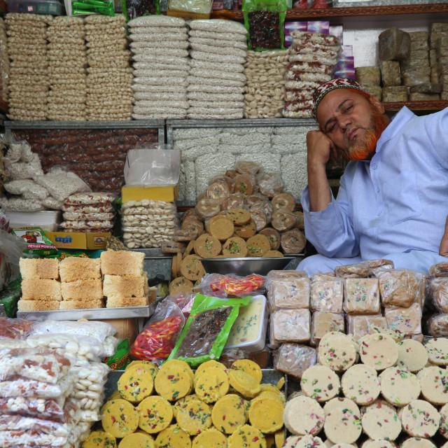 """Pastry shop outside Ajmer Sharif dargah, Rajasthan. India."" stock image"