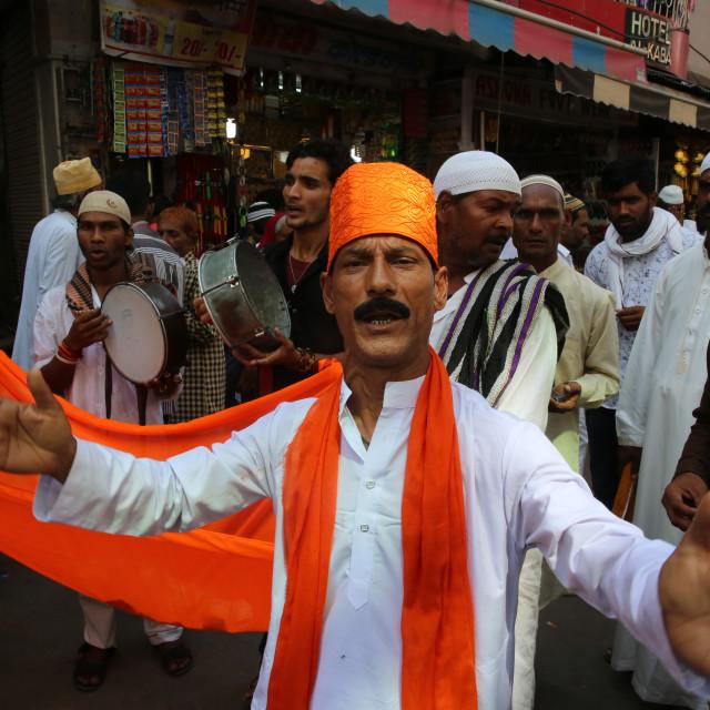 """Singers outside Ajmer Sharif dargah, Rajasthan. India."" stock image"