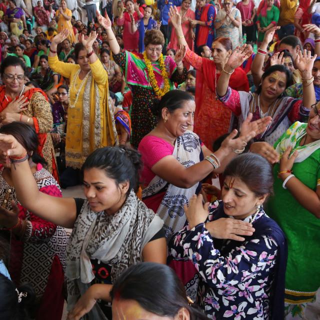 """Prayers and chanting in Radha Rani temple, Barsana, Uttar Pradesh. India."" stock image"