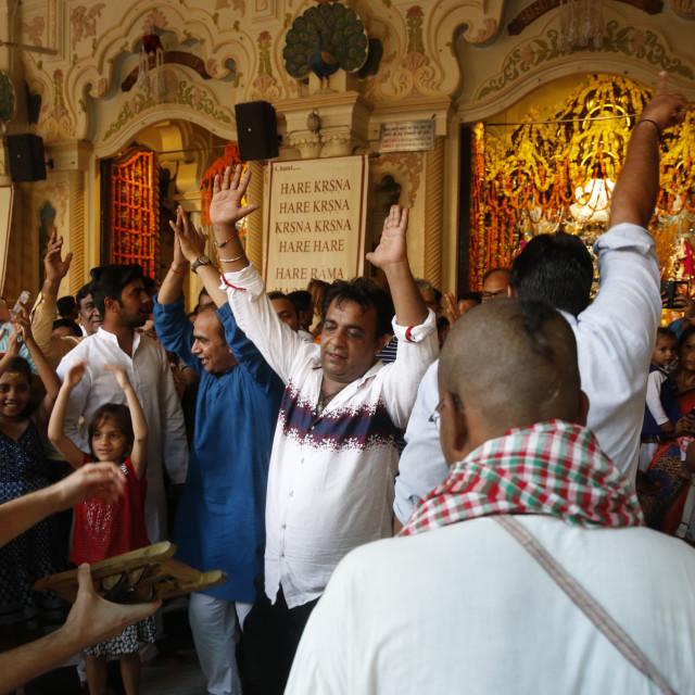 """Dancing and chanting at Krishna-Balaram temple, Vrindavan, Uttar Pradesh. India."" stock image"