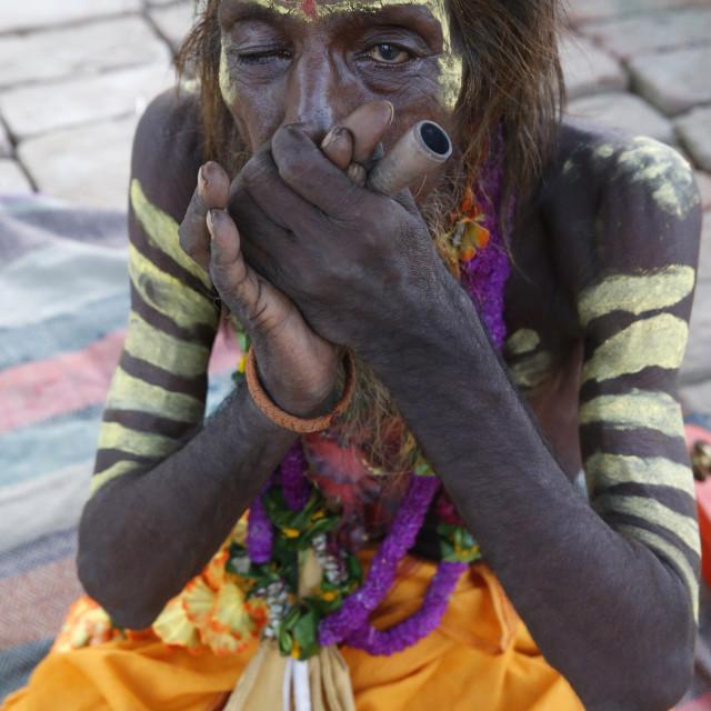 """""""Indian sadhu smoking a chilum in Vrindavan, Uttar Pradesh. India."""" stock image"""