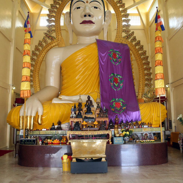 """Sakyamuni Buddha Gaya temple. High statue of a seated Shakyamuni Buddha...."" stock image"