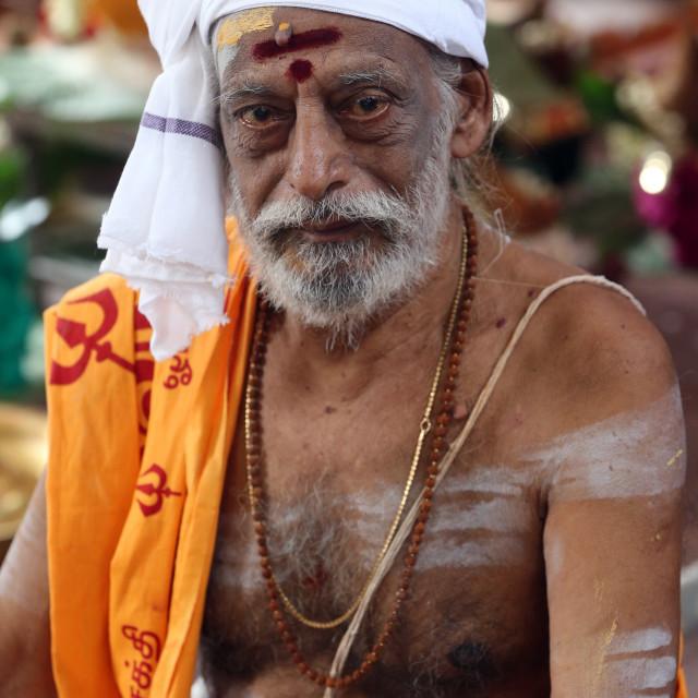 """Sri Vadapathira Kaliamman hindu temple. Hindu Brahmin priest. Singapore."" stock image"