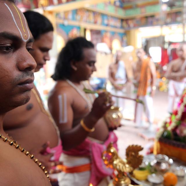 """Sri Vadapathira Kaliamman hindu temple. Hindu Brahmin priests. Singapore."" stock image"