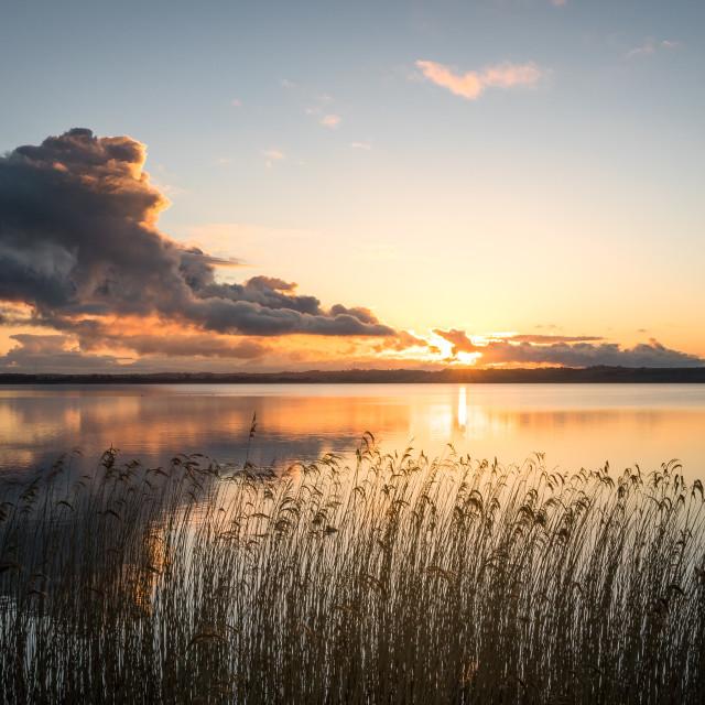 """""""Calm lake during sunset sunrise"""" stock image"""
