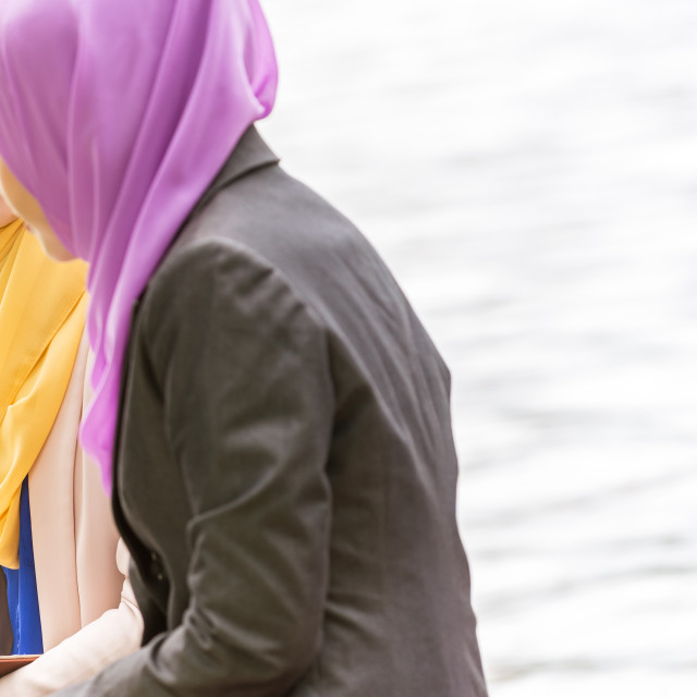 """""""Muslim Businesswomen Discussing with a laptop"""" stock image"""