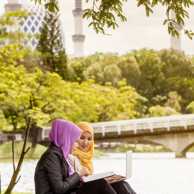 """Muslim Businesswomen Discussing with a laptop"" stock image"