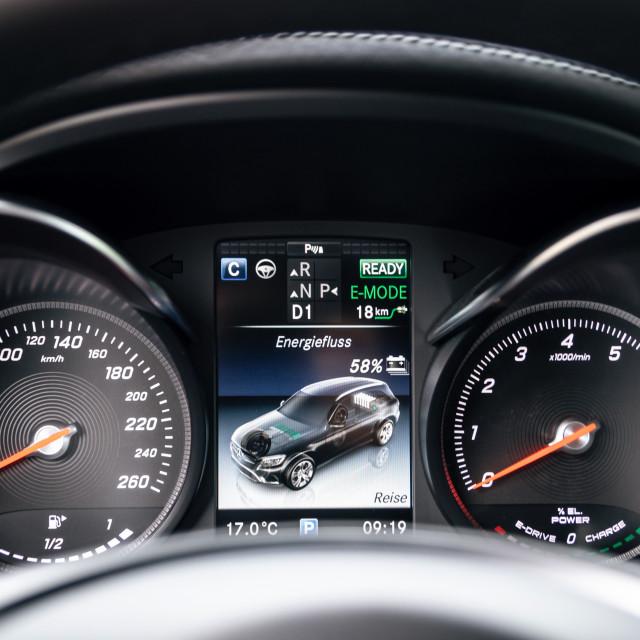 """Dashboard of Mercedes-Benz GLC 350 e Plug-In Hybrid"" stock image"