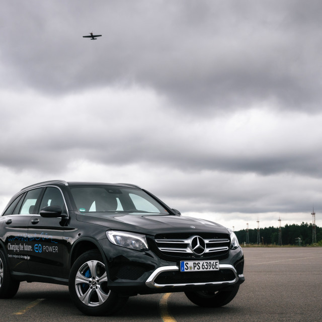 """Front view of Mercedes-Benz GLC 350 e Plug-In Hybrid"" stock image"