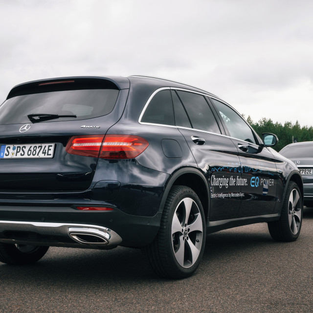 """Rear view of Mercedes-Benz GLC 350 e Plug-In Hybrid"" stock image"