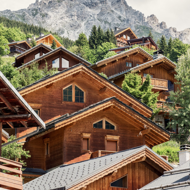 """Ski Chalets and Mountain in france"" stock image"