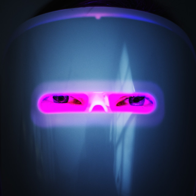 """""""High tech light therapy mask"""" stock image"""
