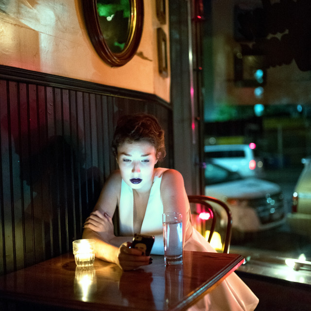 """Girl in a bar"" stock image"