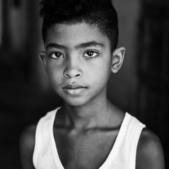 """Portrait of Beautiful Cuban boy"" stock image"