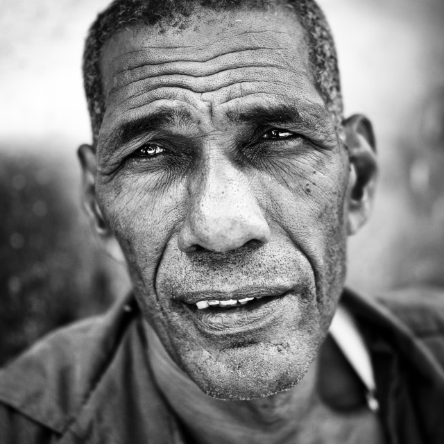 """B+W Portrait of Cuban man"" stock image"