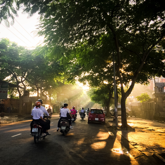 """Road to school in early morning"" stock image"