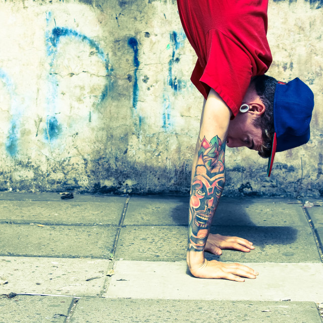 """""""Vertical breakdance close-up"""" stock image"""