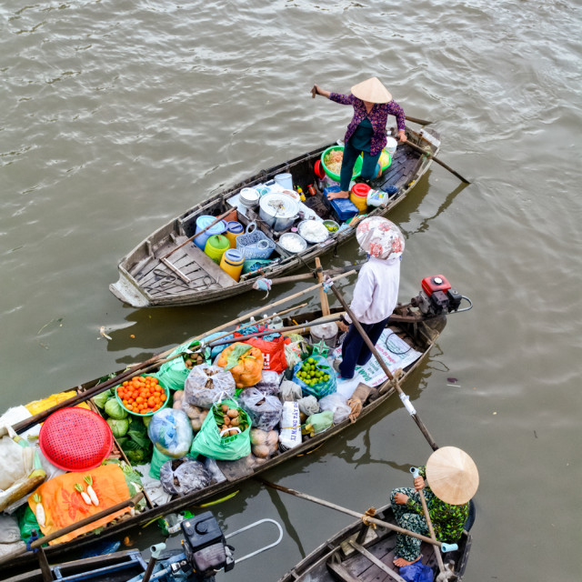 """Vendors at floating market"" stock image"