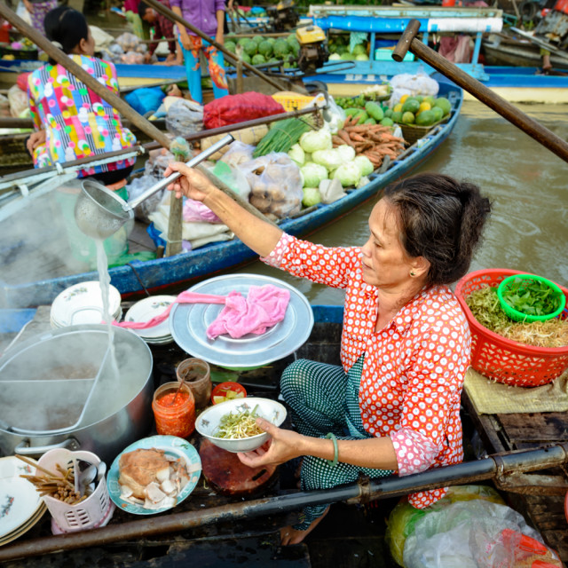 """Vermicelli Soup Seller at floating market"" stock image"