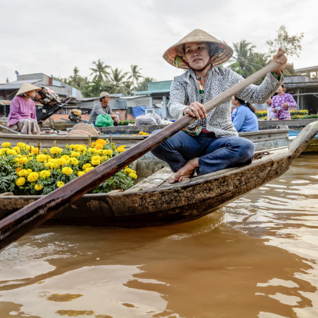 """Flower seller at floating market"" stock image"