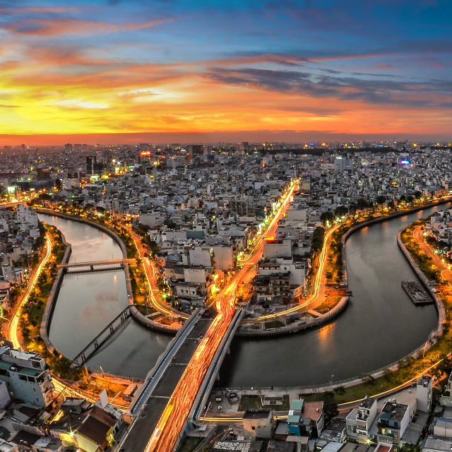 """Amazing sunset in Saigon"" stock image"