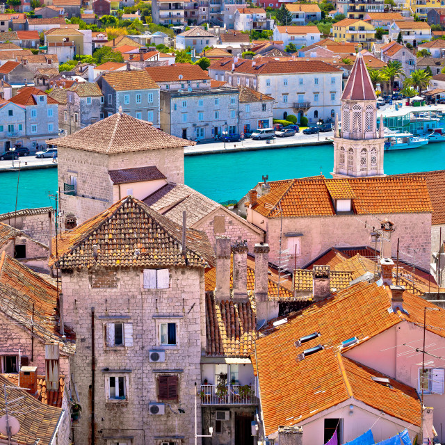 """Trogir landmarks rooftops and turquoise sea view"" stock image"