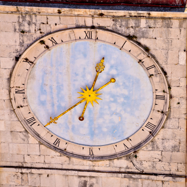 """Town of Trogir main square clock tower closeup view"" stock image"