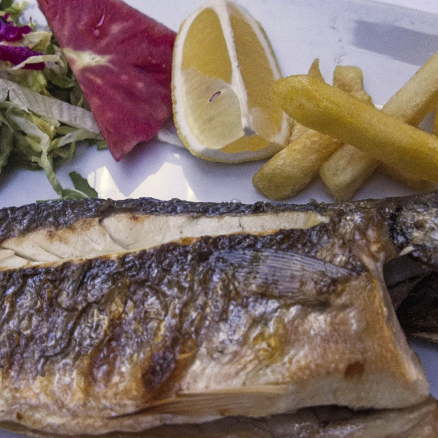 """""""Freshly Cooked Red Mullet at a Fish Restaurant, Kumkapi, Istanbul,Turkey"""" stock image"""