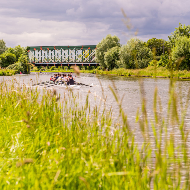 """""""Rowing on the Cam - Colour"""" stock image"""