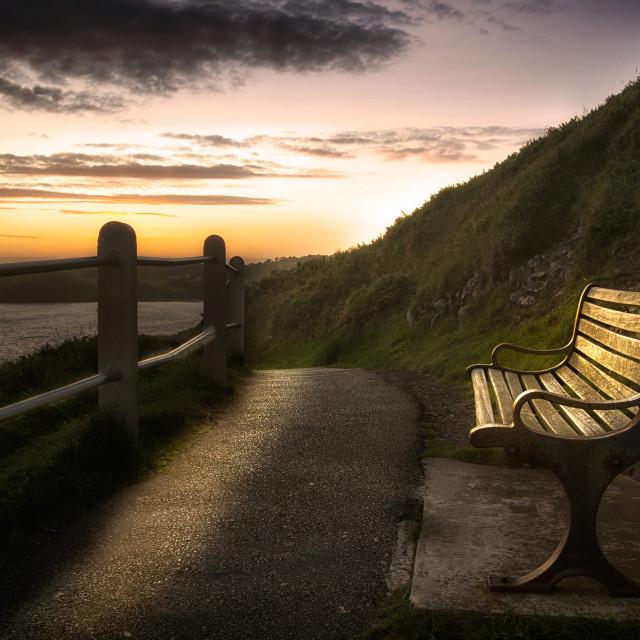 """Wales Coastal Path bench"" stock image"