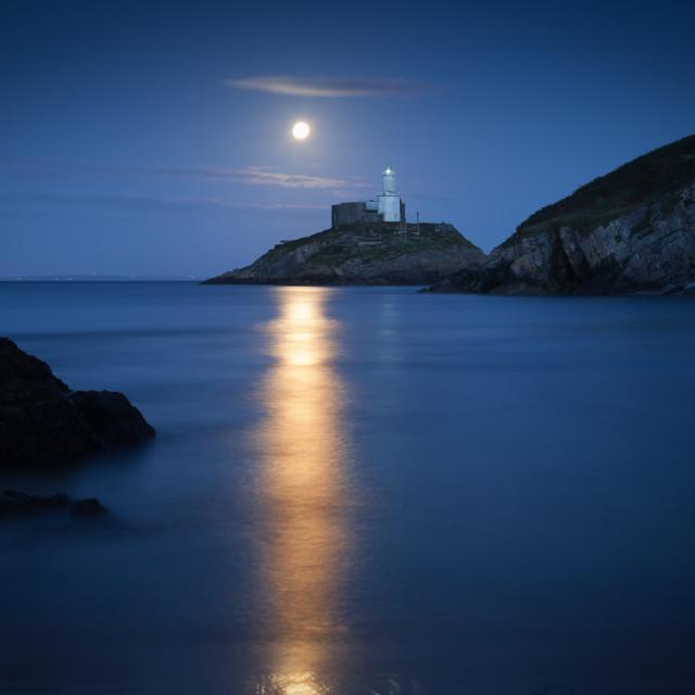 """""""Mumbles Lighthouse at dusk"""" stock image"""
