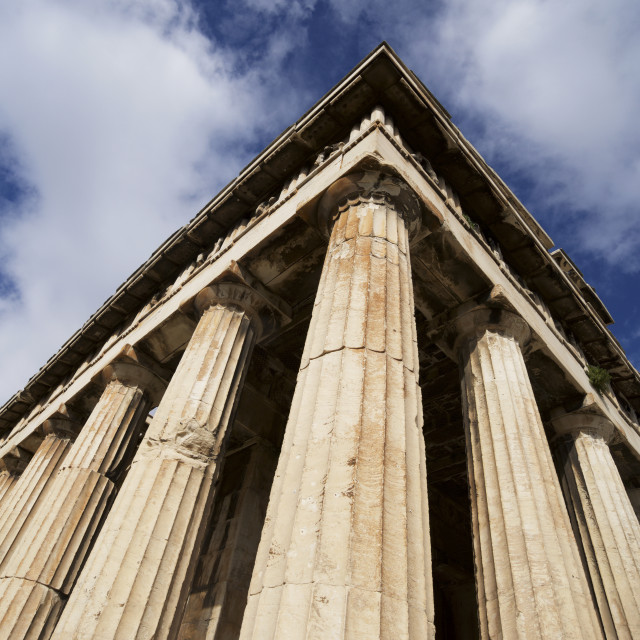 """""""Colonnade And Roof Of Temple Of Hephaistos; Athens, Atticus, Greece"""" stock image"""