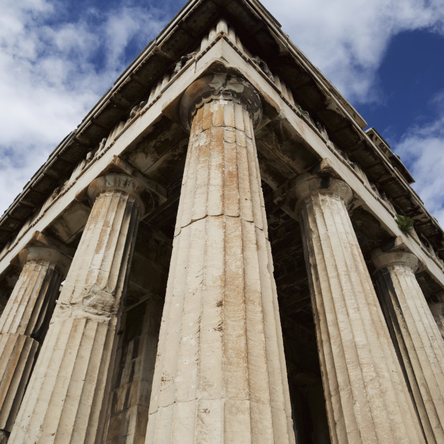 """""""Corner Of Marble Temple Of Hephaistos Colonnade; Athens, Attica, Greece"""" stock image"""