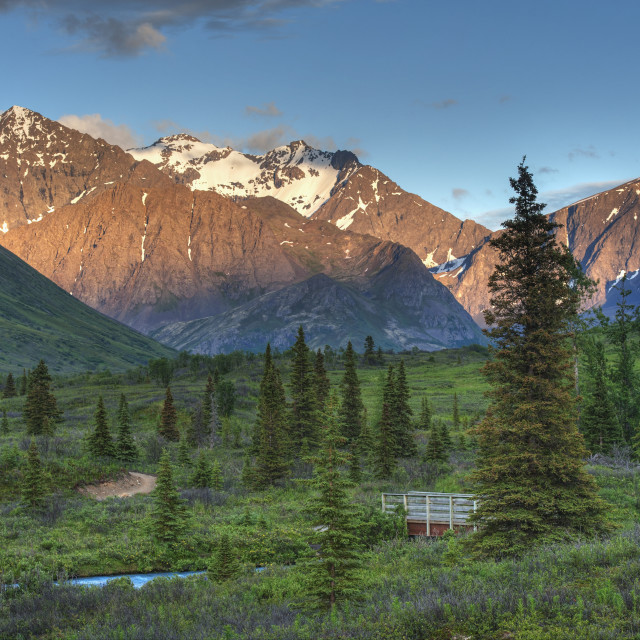 """""""South Fork Near Eagle River At Sunset On A Summer Day In South Central Alaska."""" stock image"""