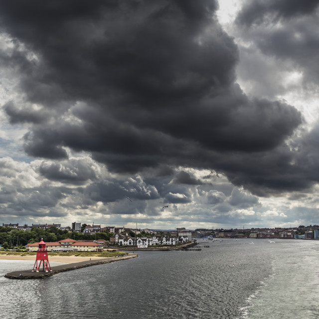 """Red Herd Groyne Lighthouse At The End Of A Pier Under Storm Clouds; South..."" stock image"