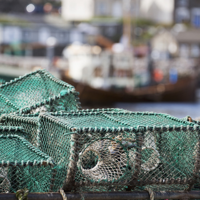 """""""Fishing Traps In The Harbor; Whitby, Yorkshire, England"""" stock image"""
