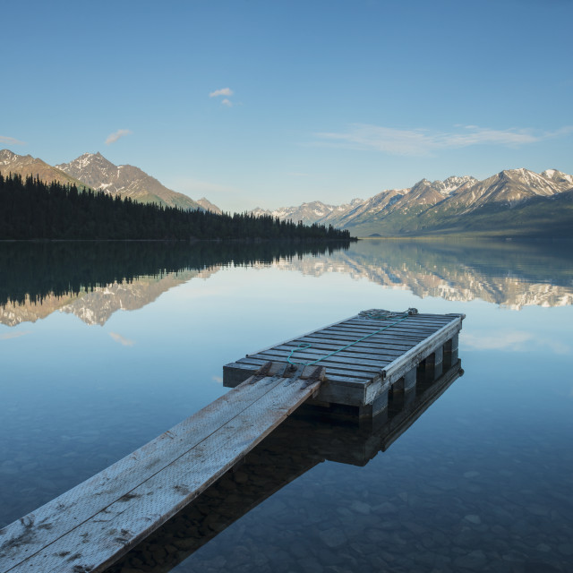 """Boat Dock At A Homestead On Lake Clark In Lake Clark National Park &..."" stock image"