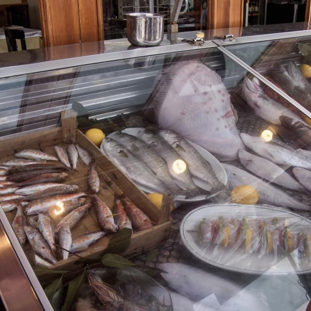 """Fish Restaurant, Princes Island of Buyukada, near Istanbul, Turkey"" stock image"